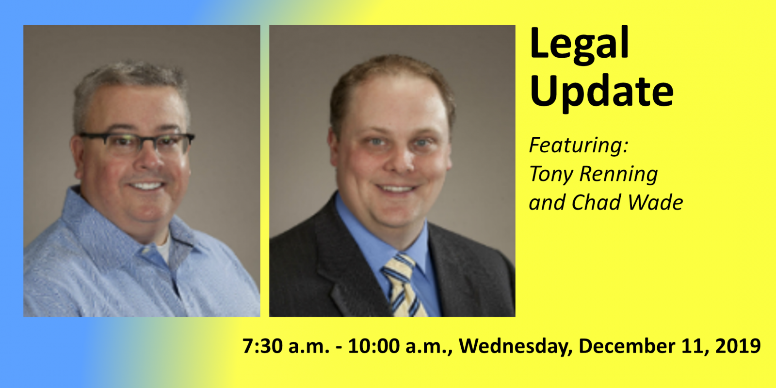 Tony Renning and Chad Lacy promoting Legal Update Dec. 2019 Oshkosh SHRM Chapter Meeting